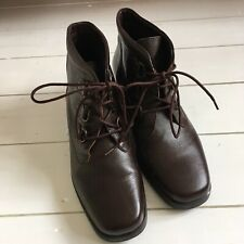 Brown Leather Lace Up Boots With Chunky Block Heel, Size 6