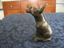 """Vintage Braying Donkey Jackass Mule Figurine Copper Toned Paper Weight 5"""" Weighs"""