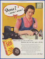 Vintage 1937 S.O.S. Magic Scouring Pads Soap Kitchen Art Décor 30's Print Ad