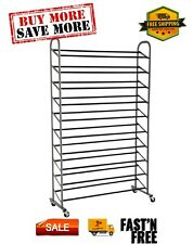 10-Tier Rolling Shoe Rack, Versatile Design, 35.75 in. x 14.75 in. x 59.65 in