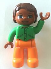 *NEW* Lego DUPLO Female BROWN Head & Hair ORANGE Legs GREEN Top Pockets Buttons