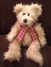 """TOFFEE Russ Berrie brown Bear Plush Red Plaid Bow Stuffed Animal Toy 12"""""""