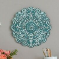 Flower Medallion Disc Plate Wall Sculpture Hanging Accent Decor Distressed Blue