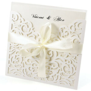 10 Ivory Laser Cut Wedding Invitations Day & Evening Invites Handmade Lace Out