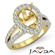 Pear Shape Semi Mount Diamond Engagement Halo Pave Ring 18k Yellow Gold 1.52Ct