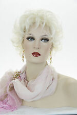 Pale Blonde With White Blonde Tip Blonde Short Wavy Curly Wigs