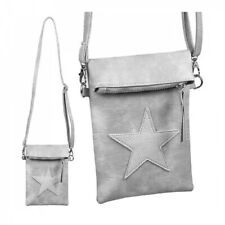 Damen Tasche Umhängetasche Clutch Handy Stern Grau Kunstleder