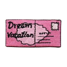 ID 9032 Dream Vacation Postcard Patch Letter Stamp Embroidered Iron On Applique