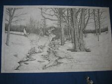 * Artex Buck Heading For Cover Stream Woods Forest 5 Point Picture to Paint