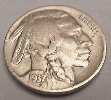 "1937 D INDIAN HEAD ""BUFFALO"" NICKEL  **FREE SHIPPING**"