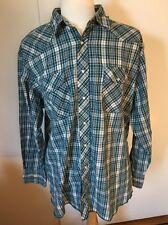 Wrangler Mens Western Shirt Size 2XL Vintage Green Plaid Pearl Snap Long Sleeve