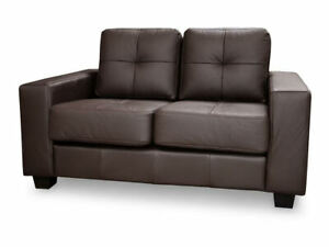 Brand New JERRY 2 Seater MODERN Sofa Black or Brown Faux Leather High Back