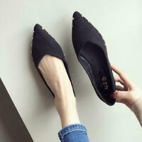 New Women's Rivet Flats Penny Loafers Pointed Toe Slip On Casual Loafer Shoes