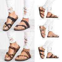 Women Slide T-Strap Cork Clip Toe Platform Flip Flops Shoes Flat Footbed Sandals