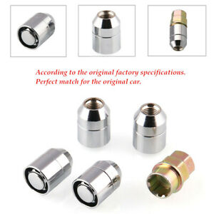 Silver 4+1 STEEL WHEEL M12x1.5 CHROME LOCKING LUG NUTS For CHEVROLET BUICK GM