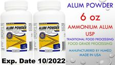 2 Humco Ammonium ALUM POWDER USP 6oz Food Processing, Pickling 2 Bottles 10/2022