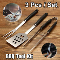 3 Pcs BBQ Tools Grill Set Stainless Steel Cooking Kit Barbecue Cooking Utensil