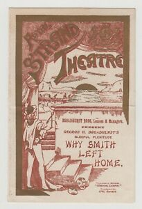 """ANTIQUE VICTORIAN ERA PROGRAMME """"Why Smith Left Home"""" Royal Strand Theatre"""
