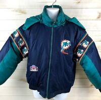 Vintage Miami Dolphins Pro Player NFL Reversible Puffer Jacket Size Medium EUC