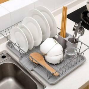 1 Tier Kitchen Dish Drainer Sink Rack Drip Tray Plates Cutlery Cup Holder Grey