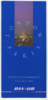 DAN AIR NEW ROUTE PARIS BROCHURE WITH TIMETABLE WINTER 1988