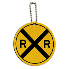Railroad crossing Traffic Sign Train Round Wood ID Tag Luggage Card Suitcase