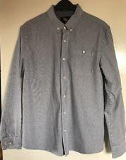 Mens Primark Navy Blue Striped Long Sleeved Shirt. Size Large