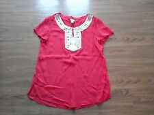 Chico's,reddish coral short sleeve sheer embellished top,womens Chicos 1