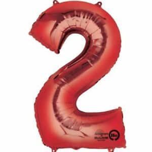"""Large Jumbo Red Metallic Number 2 Two Foil Helium Balloon 34"""" (Not Inflated)"""