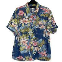 Sag Harbor Sport Womens Sz XL Denim Floral Hawaiian Shirt EUC Button-Up Blouse
