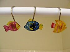 12 Colorful FISH shower curtain hooks Pink Blue Gold
