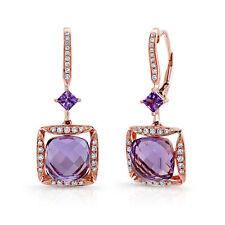 5.95 TCW 14k Rose Gold Natural Purple Amethyst Diamond Square Dangle Earrings