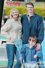 """Traditional Guernsey 5 Ply pattern Leaflet 5941. Family cardigans 20-50"""" Chest."""