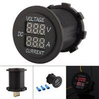 Motorcycle 12-24V Dual Red LED Digital Voltmeter Ammeter Amp Volt Meter Guage DH
