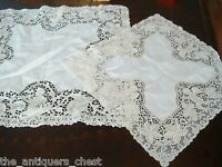 """Pair of laced doilies, pan and angels, 19"""" and 14"""""""