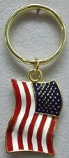 New listing Usa American Flag Keychain in Gold Plate & Usa Colors Made in Usa by Osc New