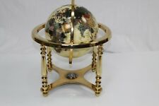 GEMSTONE WORLD GLOBE, COMPASS BRASS GLOBE