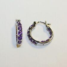 Amethyst Small Hoop Huggie Inside Outside Earrings 14k White Gold Over 925 SS