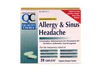 6 Pack Quality Choice Sinus Allergy Headache Pain Relief Caplets 24 Count Each
