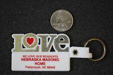 Love Nebraska Masonic Home Masons Plattsmouth White Keychain Key Ring #18182
