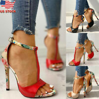 New Women Floral Print Ankle Strap Sandals Ladies High Heel Peep Toe Party Shoes