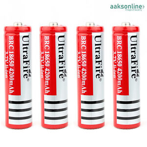 1x 4200mAh Lithium li-ion Accu 18650 Akku Batterien Wiederaufladbar Taschenlampe