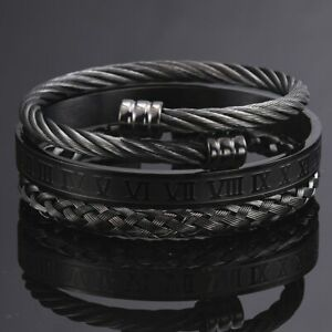 Mens Black Roman Bracelet Set Luxury 3 Pcs Bangle Stainless Steel Jewellery