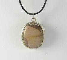 Jasper Pendant Necklace .925 Sterling Silver Brown Mauve Colored Stone Agate