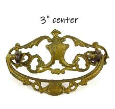 Antique Drawer Pull Solid Brass Hand Cast Victorian Art Nouveau