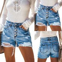 Women High Waist Short Mini Jeans Denim Ripped Casual Shorts Hot Pants Trousers
