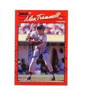 Alan Trammell autograph signed 1990 Donruss baseball card DETROIT TIGERS COA HOF