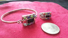 Set Real Sterling Silver 925 *68M Beautiful Multicolor Gems Malachite Cuff Ring
