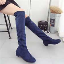 Women Elastic Over The Knee High Boots Low Heel Suede Winter Riding Boots Shoes
