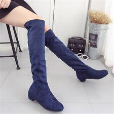 Женский эластичный выше колена высокие сапоги на низком каблуке замшевые зимние сапоги обувь для верховой езды